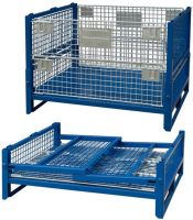 Foldable collapsible stackable pallet stillage storage logistic transportation cage container box