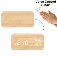 KH-WC003 Wooden Alarm Rectangle Desk Digital LED Clock for Kids Gift