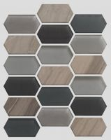 Waterjet Glass and Stone Mosaic - MD-1724HEXMS1P
