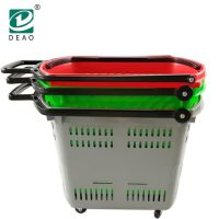 Plastic Supermarket Shopping Rolling Basket with Two Handles and Four Wheels