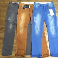 Mens cotton pants in fashion wash pigment dyed jeans