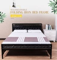 Home use high backrest simple easy folding metal frame bed