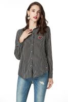 Button Down Shirts for Women Long Sleeve Collared Stripe Casual Blouse Shirts with Heart Beading on Front Chest