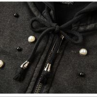 Hooded Sweatshirt Women,Zip Up and Heavy Washed Functional Cotton Sweatshirts with Pearls on Front Shoulder