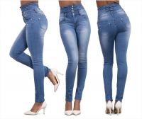 High-waisted fashionable stretch jeans with small feet denim pant