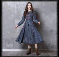 New slim waistband denim vintage embroidery dress for women