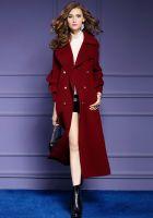 Women's new autumn/winter long double-breasted woolen coat with double-sided woolen coat
