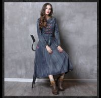 New slim waistband denim vintage embroidery dress for women