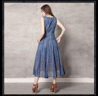Summer new round collar vest skirt vintage embroidery cowboy big denim dress