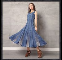 Summer new round collar vest skirt vintage embroidery cowboy big denim dress