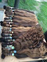 Unprocessed 100% pure virgin human hair bulk, wholesale brazilian and European hair for wig making, 14-30 inches long