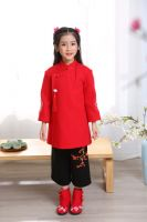 Cheap hot sale girl Tang suit children Hanfu Chinese traditional embroidered clothing tops and skirts long sleeve cheongsam