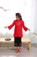 Cheap girl Tang suits qipao cheongsam sets Hanfu Chinese traditional embroidered clothing tops and pants girl new year festival