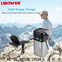 Rechargeable solar power station for outdoor camping with ac110V/220V DC 12V/5A double USB Type-c