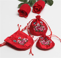 Drawstring gift pouche,Bridesmaid gift bag,Forest Floral Wedding Favor Bag-satin wedding gift bag,gift pouche,wholesale gift bag,red bags