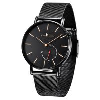 Fashion men's watch custom stainless steel mesh band ultra-thin case watch quartz genuine leather belt montres with date
