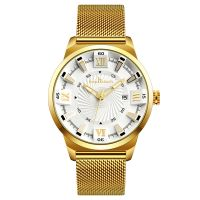 Factory supply fashion men's quartz watch with mesh strap and import movement