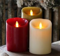 Ivory Colorful Real Wax Led Candle Motion Flame Battery Operated Candle