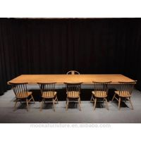 Antique rectangle dining table set walnut wood slab