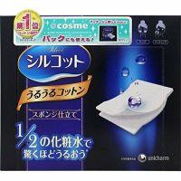 Unicharm Silcot Uruuru Sponge Facial Cotton 40 Sheets