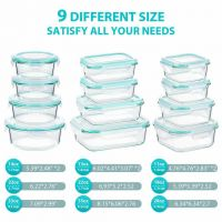 Glass Food Storage Containers with Lids, [24 Piece] Glass Meal Prep Containers, Airtight Glass Bento Boxes, BPA Free & FDA Approved & Leak Proof (12 lids & 12 Containers)