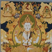 Tibetan and Nepal Buddhist The Trikala Buddhas Buddha Sambo Buddhas of Three Periods Buddha iii  Tangkar Tapestry Gobelin silk embroidered hanging painting decorative painting  pictures drawing