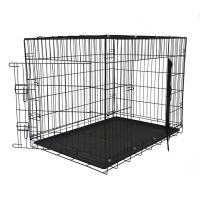 Durable folding two doors dog crate with plastic tray