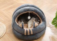 Private label PP cotton soft cat hut bed