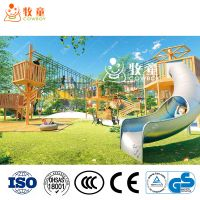 Cowboy Wooden Outdoor Playground with Climbing Net