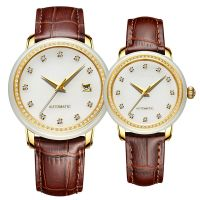 Luxury Elegant Mechanical Watches Relojes Jade Dial Genuine Leather Strap Couple Automatic Watch