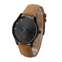 Nice design all stainless steel watch genuine leather quartz watch