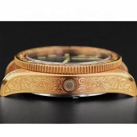 OEM luxury wrist watch men vintage tin bronze carved watches Japanese Movt watch manufacture