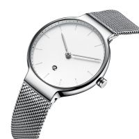 New Design Ultra-thin Movement Stainless Steel Quartz Watch with Mesh Straps 5 ATM Water Proof for Women
