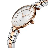 New Fashion Luxury Two-tone Stainless Steel Band  5 ATM Water Resistant Wrist Watch for Lady with Sapphire Glass
