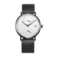 Custom Silver Mesh Belt Stainless Steel Fashion Watch With 5ATM Water Resistant For Men