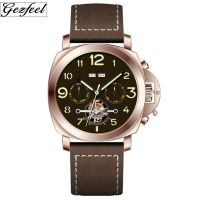 Hot sales Luxury chronograph watches 6 hands simple meachnical men watch with  genuine leather