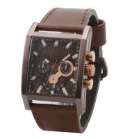 Good Chronograph Travel Box Leather Strap Wrist Watch