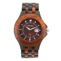 New Fashion Two Tone Case Japan Movt 3 Atm Water Resistant Men Wood Wristwatch