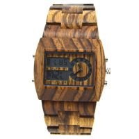 Shenzhen Factory Custom Blood Carved Handcraft Square Men Wooden Wrist Watch with China Automatic Movement
