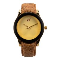 Cork Leather Strap Metal Silver Japan Movement Cork Alloy Watch
