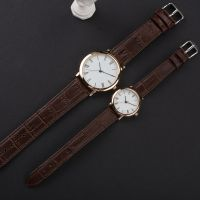 Custom Luxury Brand Couple Watch With Retro Leather Watch