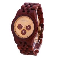 Custom Logo Luminous with 3 Eyes Butterfly Buckle 3 Atm Water Resistant Wooden Watch