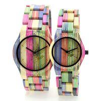 Custom Logo Coloful Bamboo Wooden Wrist Watch with Japan Movt Quartz Couple Watch