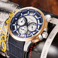 Fashion Gift Index Multi-function Dial Leather Strap Stainless Steel Case wristwatch