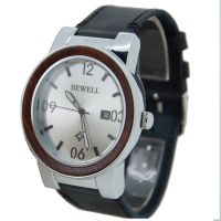 Custom Factory Supply Big Dial Japan Movt Stainless Steel Back Water Resistant Wood Wristwatch