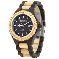 Hollow Dial Butterfly Buckle 3Atm Water Resistant Bewell Automatic Wooden Watch