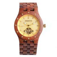 Custom logo OEM wholesale luxury diamond mens Bewell branded automatic mechanical waterproof wood bamboo quartz wrist watch