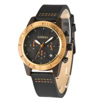 Most popular all black stainless steel genuine leather band unique blank face  men wooden wrist watches