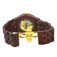 2019 wholesale luxury skeleton automatic mechanical bewell wooden watch for men