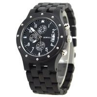 Custom fashion design Three Eyes muti-function quartz men wrist Wood Watch with Ebony Wood